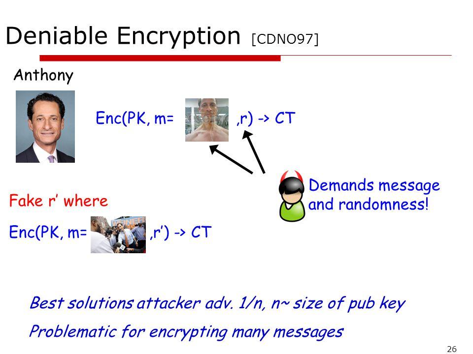 Deniable Encryption [CDNO97]